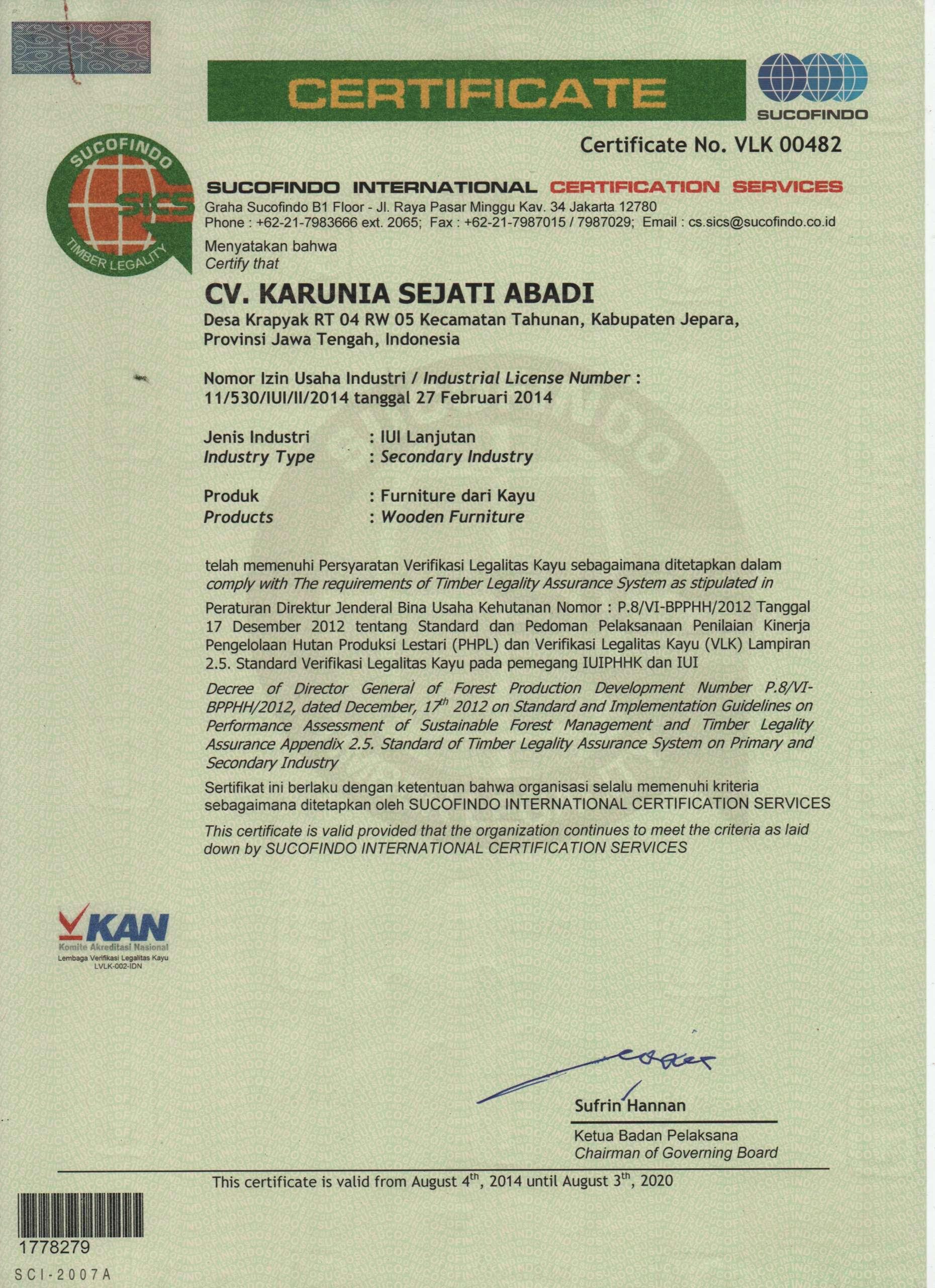 SVLK Certificate